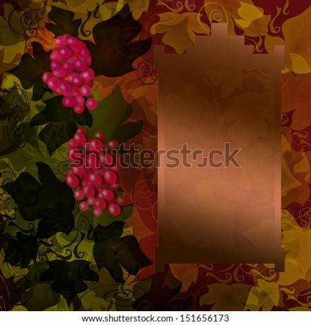 Red grape background with frame - stock photo