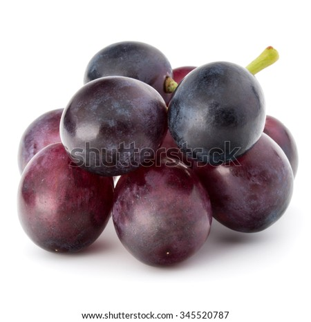 Red grape berry bunch isolated on white background cutout - stock photo