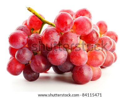 red grape on white background - stock photo