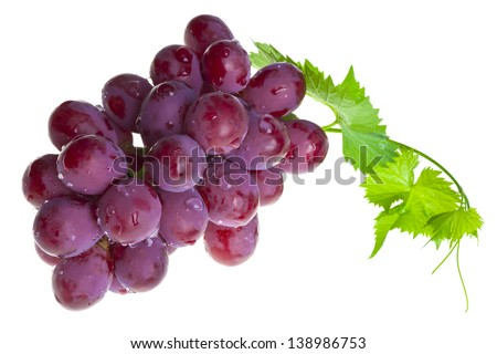 Red grape with foliage isolated on white - stock photo