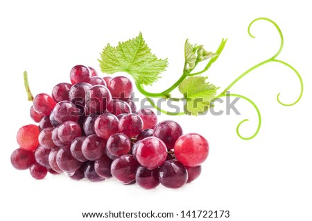 Red grape with green leaves, closeup, isolated on white background - stock photo