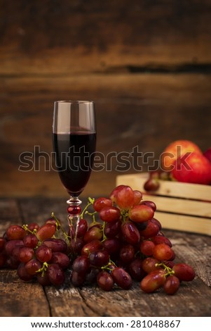 Red grapes and wine grapes - stock photo