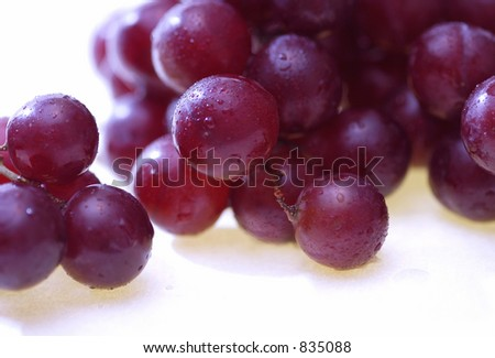 Red grapes with droplets of condensation - stock photo