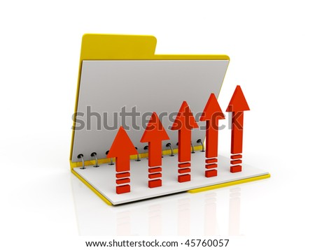 red graph in open folder - stock photo