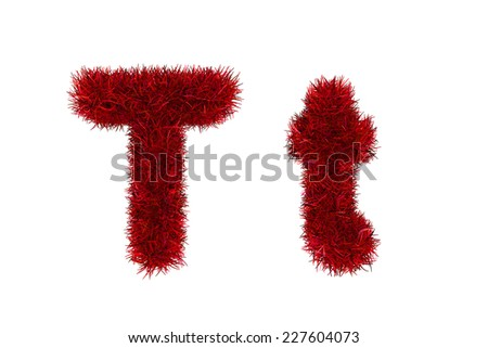 red grass letters, upper and lowercase  - stock photo