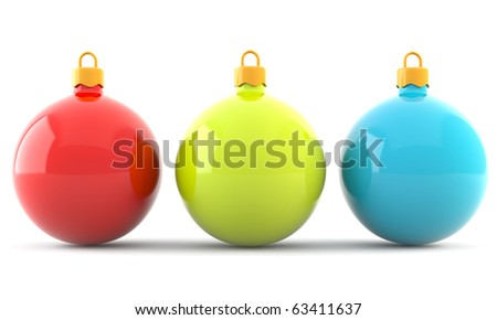 Red, green and blue christmas baubles isolated on white background - stock photo