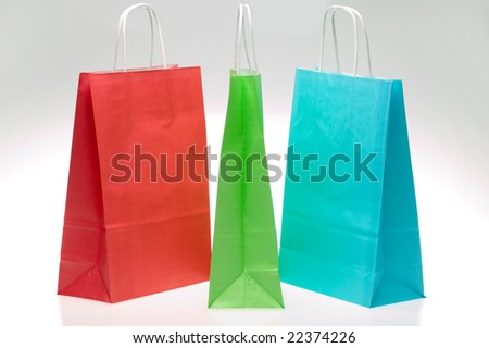 Red Green and Blue paper shopping bags - stock photo