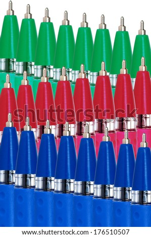 Red, green and blue(RGB) ball pens in three waves on white background - stock photo