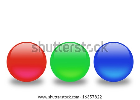 Red, green and blue spheres in a line - stock photo