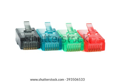 Red, green, blue and black  RJ45 connectors isolated on white background - stock photo