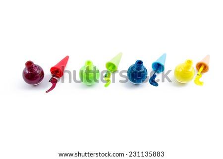Red, Green, Blue, Yellow, Nail polish bottles set - stock photo