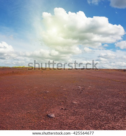 red ground with iron oxide in Krivyi Rih, Ukraine - stock photo