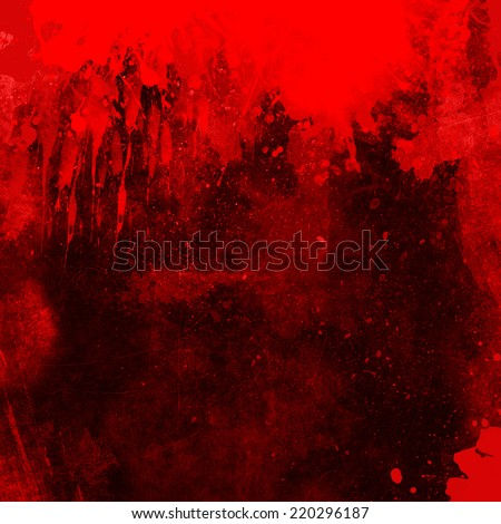 Red grunge background with splats and drips - stock photo