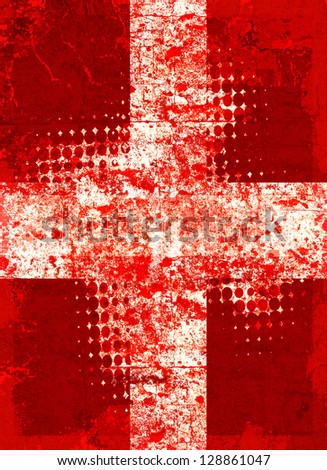 Red grunge cross with halftone pattern - stock photo
