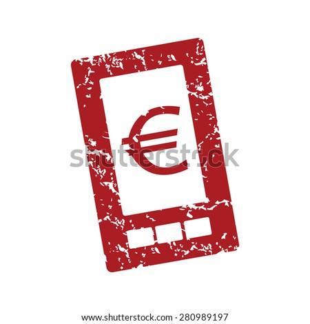 Red grunge euro phone logo on a white background - stock photo