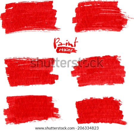 Red grunge marker textured stains set - stock photo