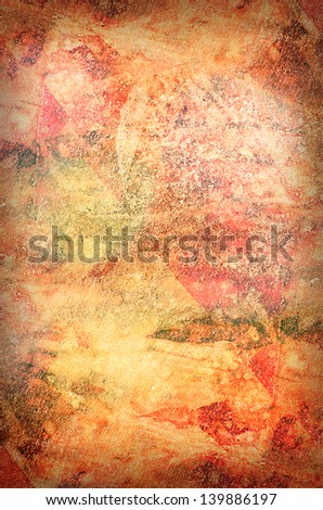 Red Grungy Background with scratches and damages - stock photo