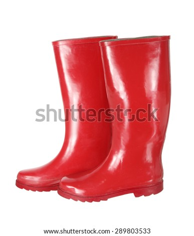 Red Gumboots on White Background - stock photo
