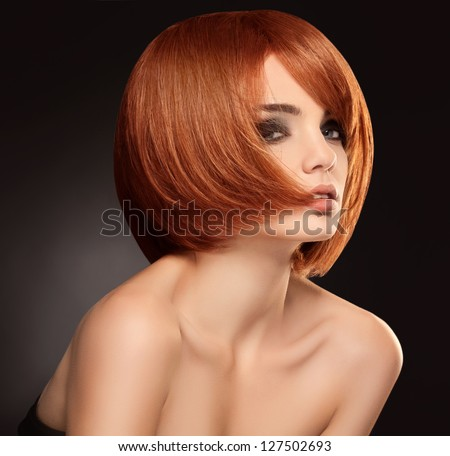 Red hair. Beautiful Woman with Short Hair. High quality image. - stock photo