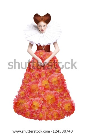 Red Hair Duchess. Retro Fashion Woman in Classic Jabot. Renaissance. Fantasy - stock photo
