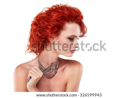 Red hair. Fashion girl portrait.Accessorys.Isolated on a white background - stock photo