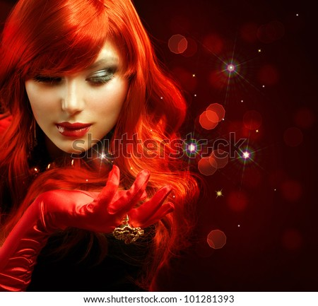 Red Hair. Fashion Girl Portrait . Magic - stock photo