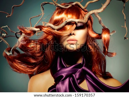 Red Hair. Fashion Model Woman Portrait with Long Curly Red Hair. Hair Extension  - stock photo