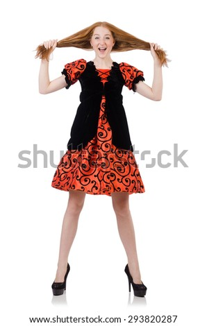 Red hair girl in orange dress isolated on white - stock photo