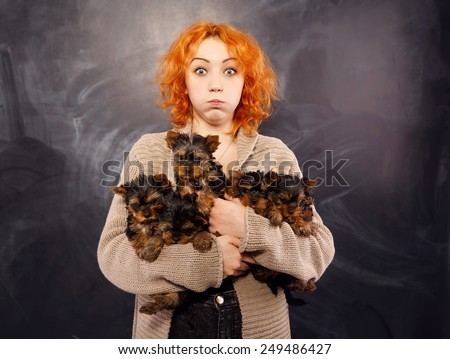 Red hair girl on a dark background and a lot of little puppies in her hands. Woman with an emotion of surprise on his face holding a six puppies Yorkshire terrier. Many young puppies. - stock photo