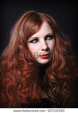 Red-hair woman - stock photo