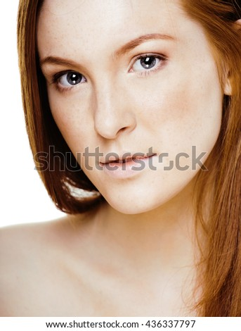red hair woman with drops on her face, real ginger - stock photo