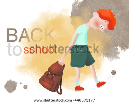 Red-haired boy bully does not want to go to school  - stock photo