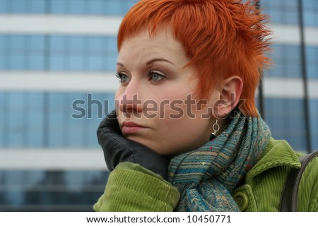 red-haired sad, lonely woman in depression and pensive feelings - stock photo