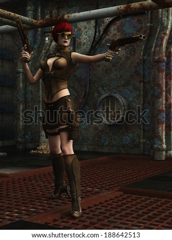 Red haired steampunk female in industrial setting wearing green brass framed goggles and brandishing a pair of double barrelled flintlock pistols - stock photo