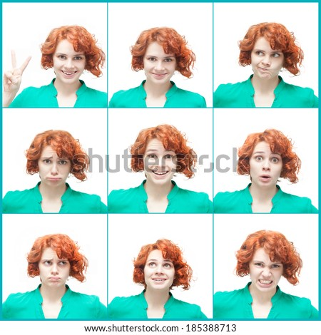 Red-haired young woman, isolated on white background, collage of emotions - stock photo