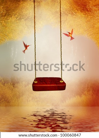 red hammock and hummingbird in a peaceful lake - stock photo