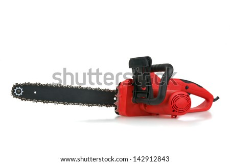 Red hand electric chainsaw on white background - stock photo