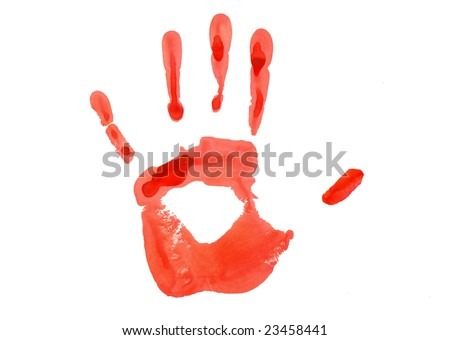 Red hand imprint on paper - stock photo