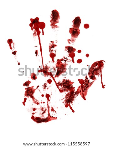 red hand print on a white - stock photo