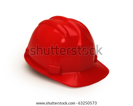 Red hard hat isolated on white - stock photo