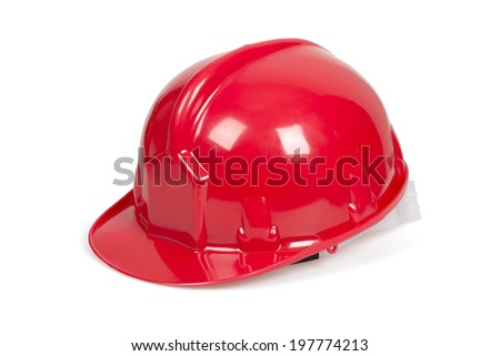 Red hard hat isolated on white with clipping path. - stock photo