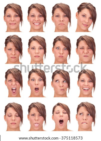 red head young caucasian woman collection set of face expression like happy, sad, angry, surprise, yawn isolated on white - stock photo