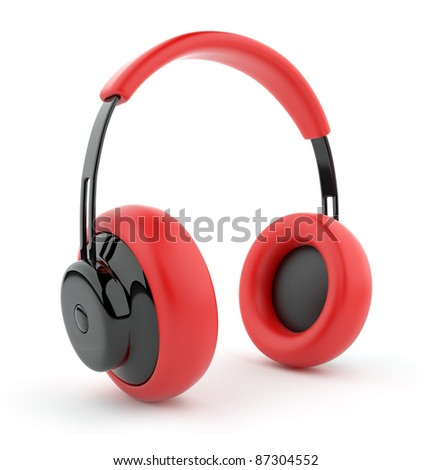 Red headphones 3D. Icon. Isolated on white background - stock photo