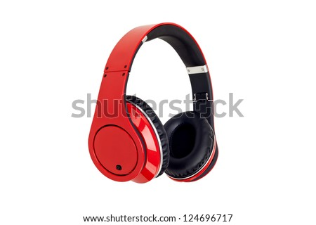 Red headphones isolated on a white background. - stock photo