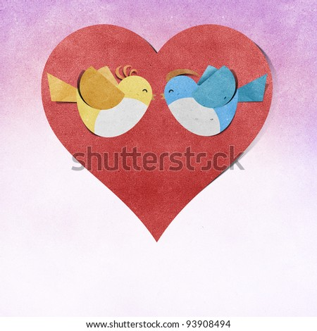 red heart and bird recycled papercraft - stock photo