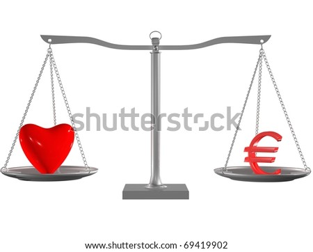Red heart and Euro on Silver balance on white isolated background - stock photo
