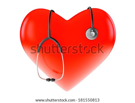 Red heart and stethoscope on a white background - stock photo