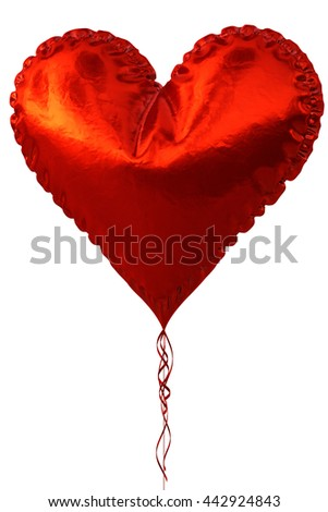Red heart balloon isolated on white background. 3D illustration. - stock photo