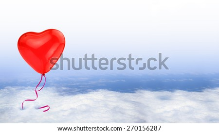 Red heart balloon on blue sky with white clouds, conceptual - stock photo