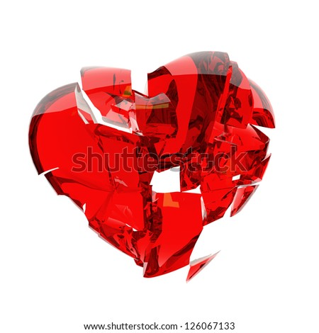 red heart broken into peaces - stock photo